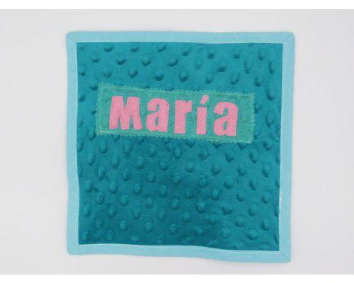 Libro Sensorial Hecho. Minky Agua-marina.