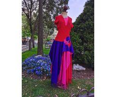 vestido pashminas azul, roja, rosa
