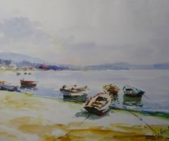 Marina con Barcas en playa 70x49