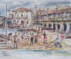 Berbes con marineros Rufino Peral 27x35
