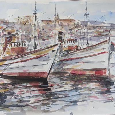 Barcos con puerto al fondo I (32x24)