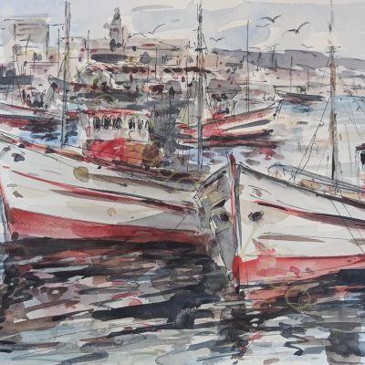 Barcos con puerto al fondo II (32x24)
