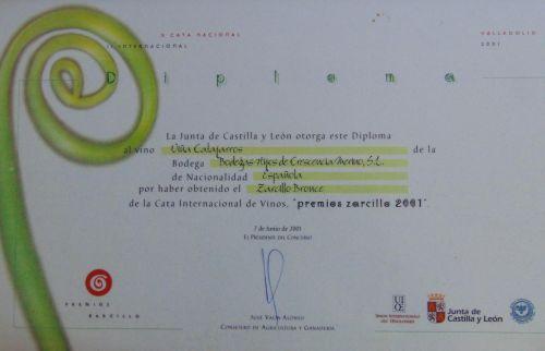 Diploma Zarcillo de bronce año 2001