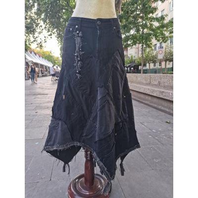 Falda negra loneta picos