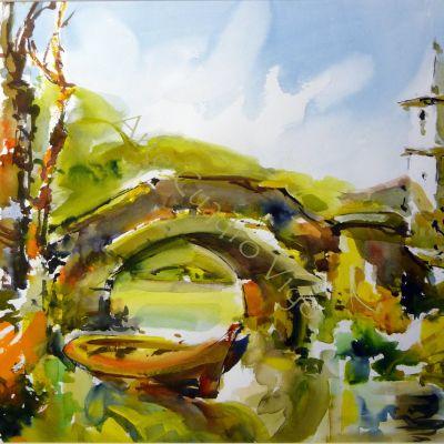 Puente con Iglesia - 63x48