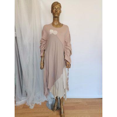 Vestido suelto rosa palo, oversize