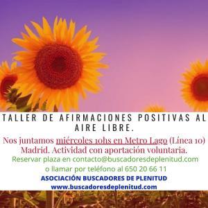Taller de Afirmaciones Positivas al aire libre en Madrid