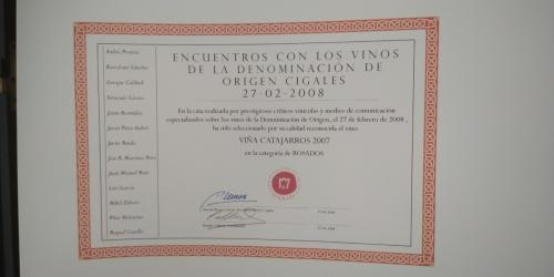 Premio encuentro con los vinos de la Denominación de Origen Cigales 2008