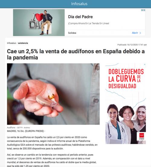 Informe anual venta de audífonos en Europa Press