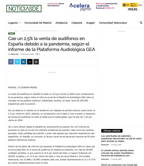 Informe anual venta de audífonos en Noticias De