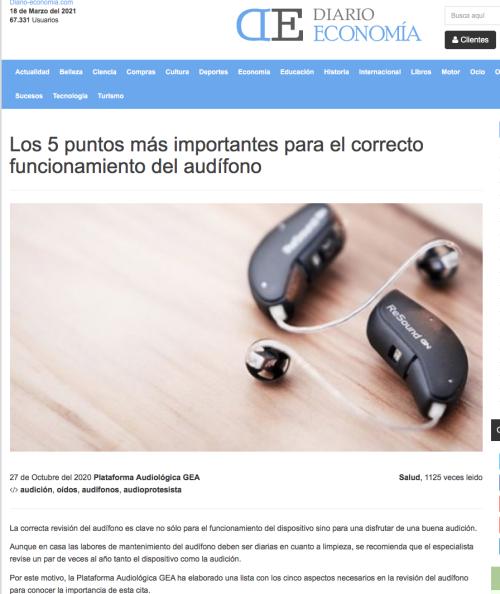 5 Puntos funcionamiento audífono en Diario Economía
