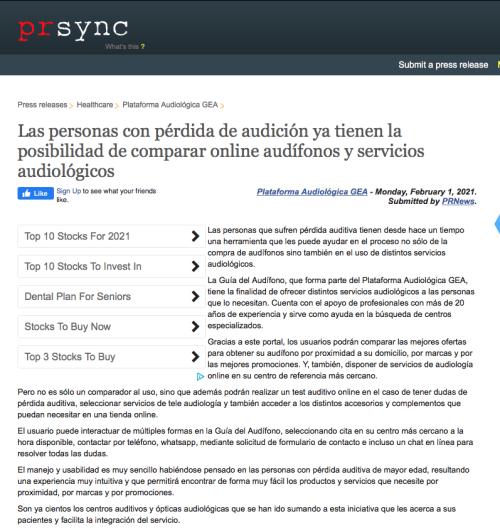 Lanzamiento Guía del Audífono en PRSYNC