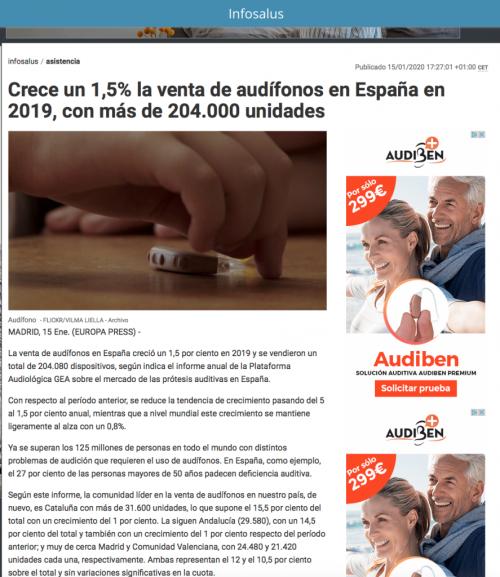 Informe sector Audífonos en Europa Press