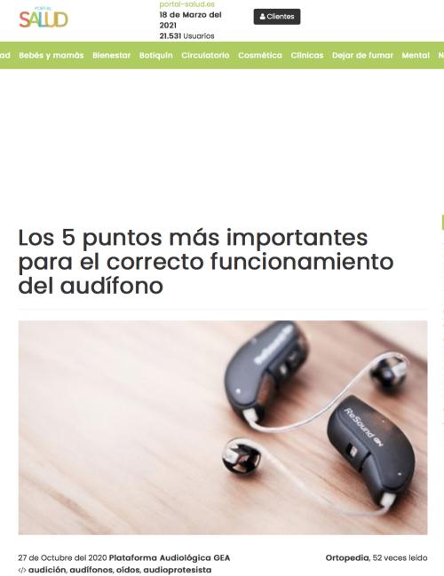 5 Puntos funcionamiento audífono en Portal Salud