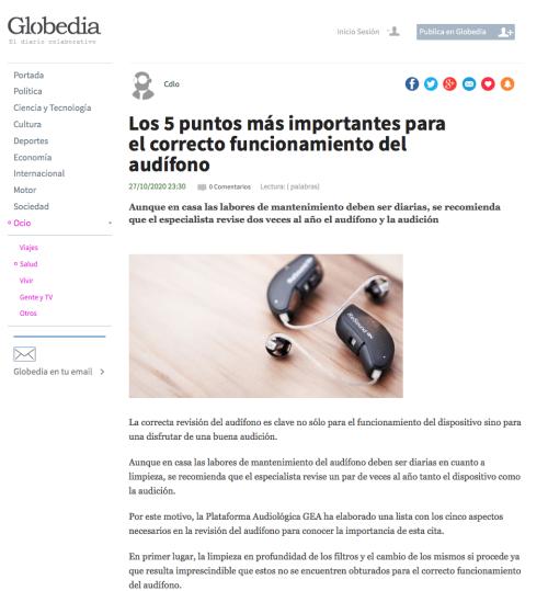5 Puntos funcionamiento audífono en Globedia