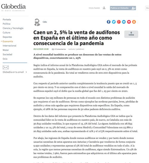 Informe anual venta de audífonos en Globedia