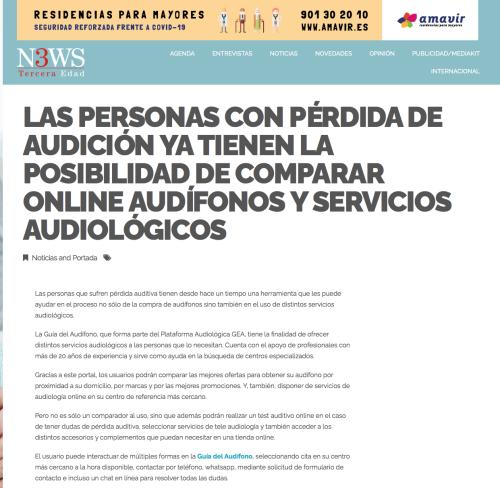 Lanzamiento Guía del Audífono en News 3ª Edad