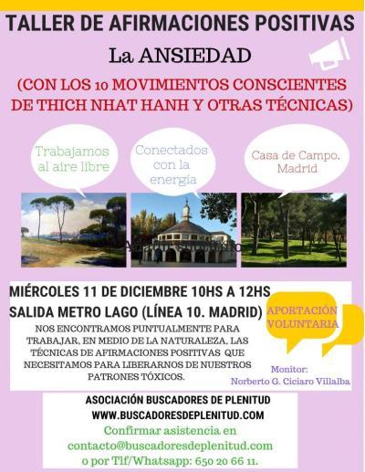 """Taller de Afirmaciones Positivas en Casa de Campo """"La Ansiedad"""""""