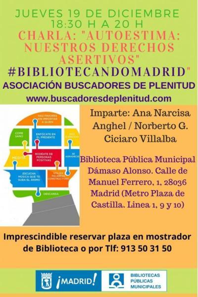 """Charla: """"Autoestima: Nuestros derechos asertivos"""" #bibliotecandomadrid (Bibl. Dámaso Alonso)"""