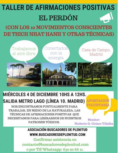 """Taller de Afirmaciones Positivas en Casa de Campo """"El Perdón"""""""