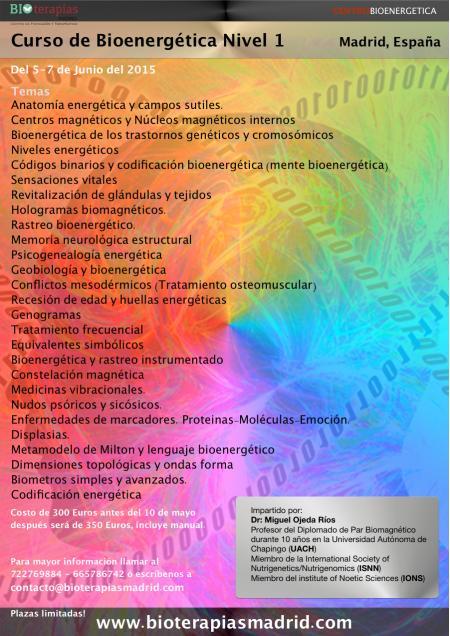 Curso de Bioenergética Nivel 1 - Madrid del 5-7 de Junio.