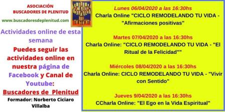 Actividades Gratuitas ONLINE de la semana del 06 de abril a 09 de abril